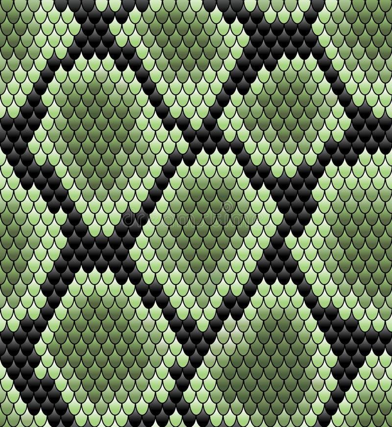 Зеленая безшовная картина кожи змейки иллюстрация штока