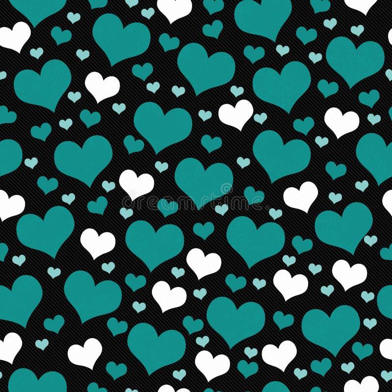 Зеленая, белая и черная предпосылка повторения картины плитки сердец иллюстрация вектора