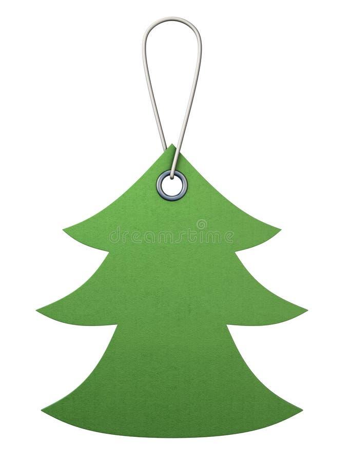 Зеленая бирка картона в форме рождественской елки 3d иллюстрация штока