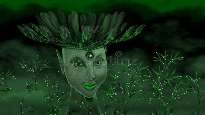Зеленая богина иллюстрация вектора