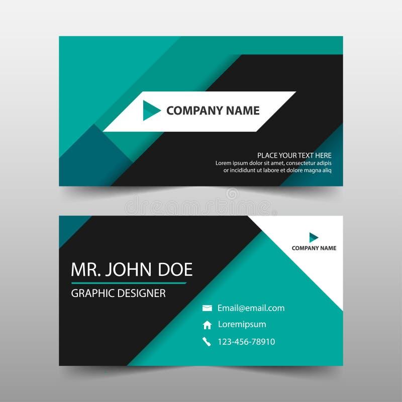 Зеленая визитная карточка корпоративного бизнеса, шаблон карточки имени, горизонтальный простой чистый шаблон дизайна плана, шабл иллюстрация штока