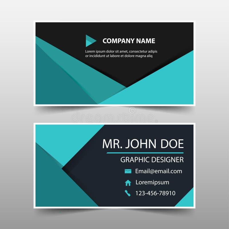 Зеленая визитная карточка корпоративного бизнеса, шаблон карточки имени, горизонтальный простой чистый шаблон дизайна плана, шабл иллюстрация вектора