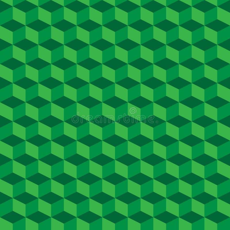 Зеленая геометрическая безшовная предпосылка картины кубов вектор бесплатная иллюстрация