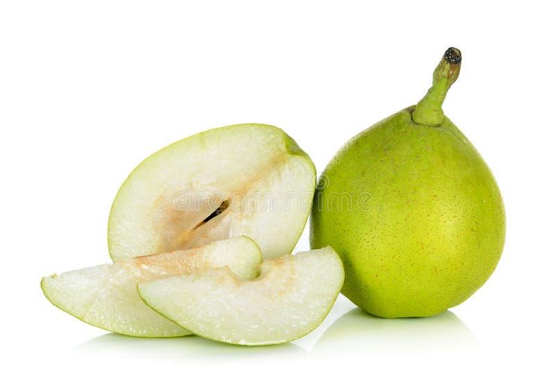 Зеленая груша изолированная на белой предпосылке стоковая фотография rf