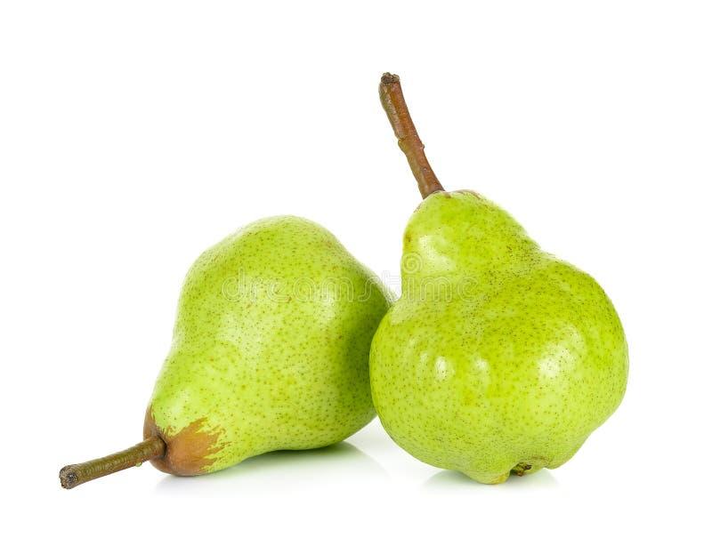 Зеленая груша изолированная на белой предпосылке стоковые фото
