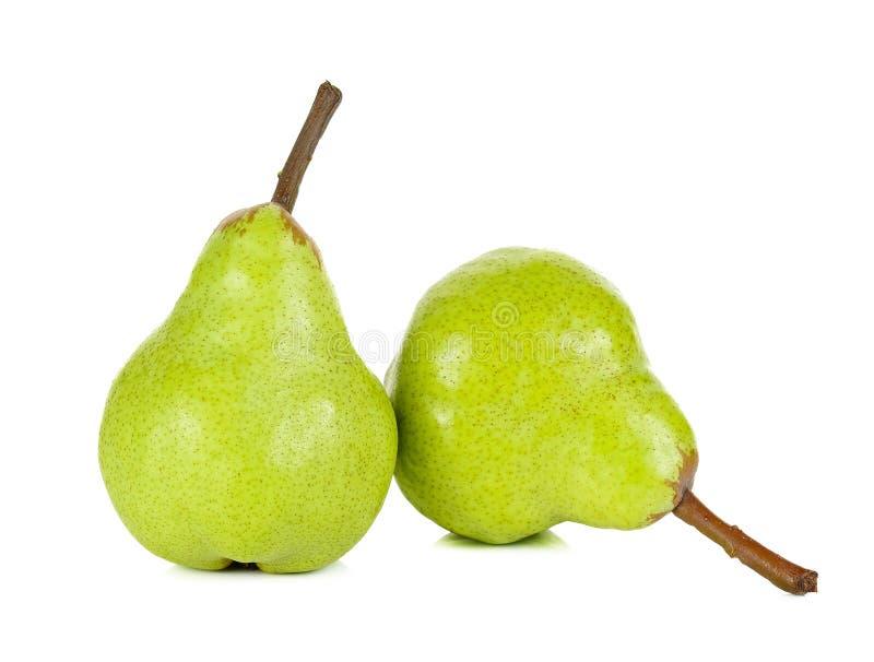Зеленая груша на белой предпосылке стоковые фотографии rf