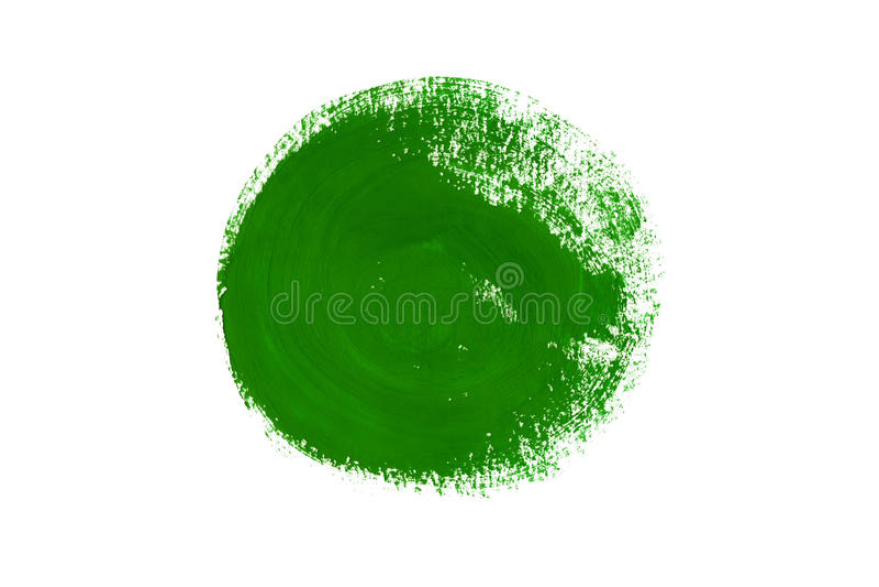 Зеленая гуашь покрасила круг изолированный на белой предпосылке иллюстрация штока