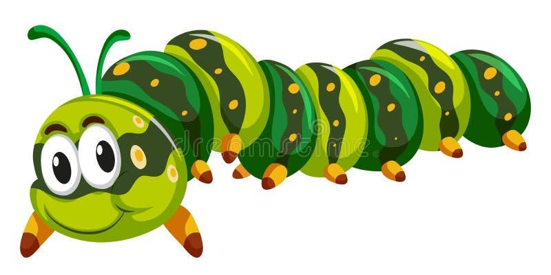 Зеленая гусеница вползая на белой предпосылке иллюстрация вектора