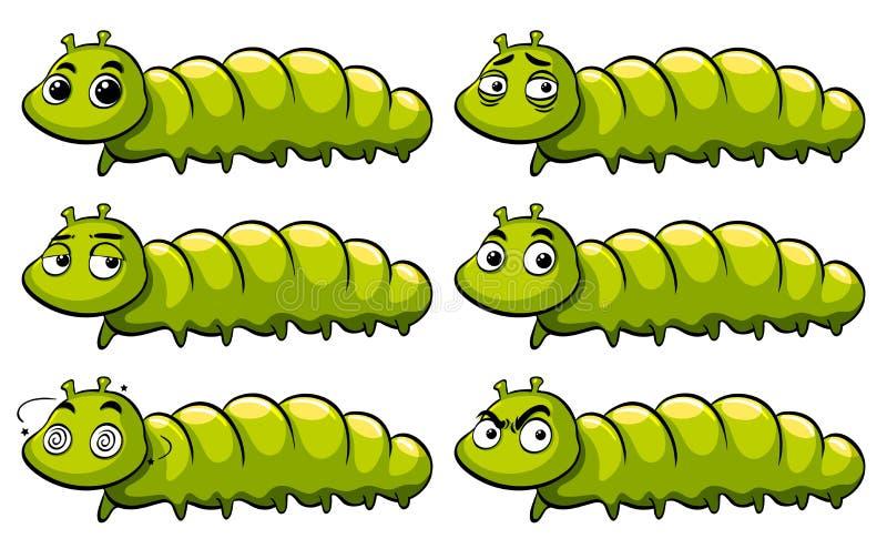 Зеленая гусеница с различными эмоциями иллюстрация вектора