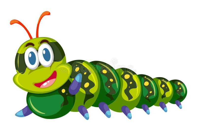 Зеленая гусеница усмехаясь на белой предпосылке иллюстрация штока