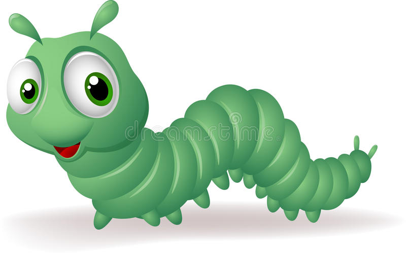 Зеленая гусеница шаржа на белой предпосылке иллюстрация штока