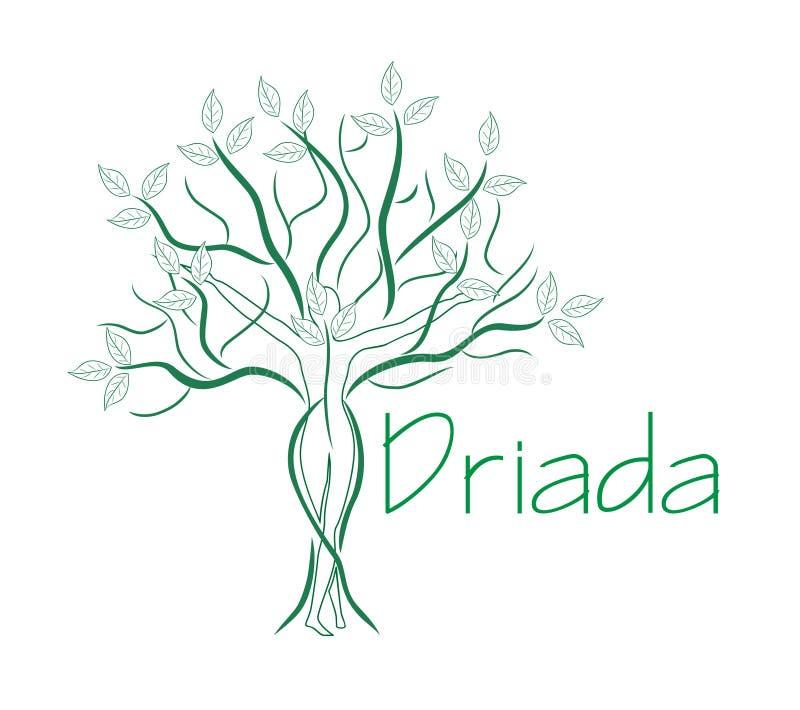 Зеленая женщина дерева Логотип шаблона бесплатная иллюстрация