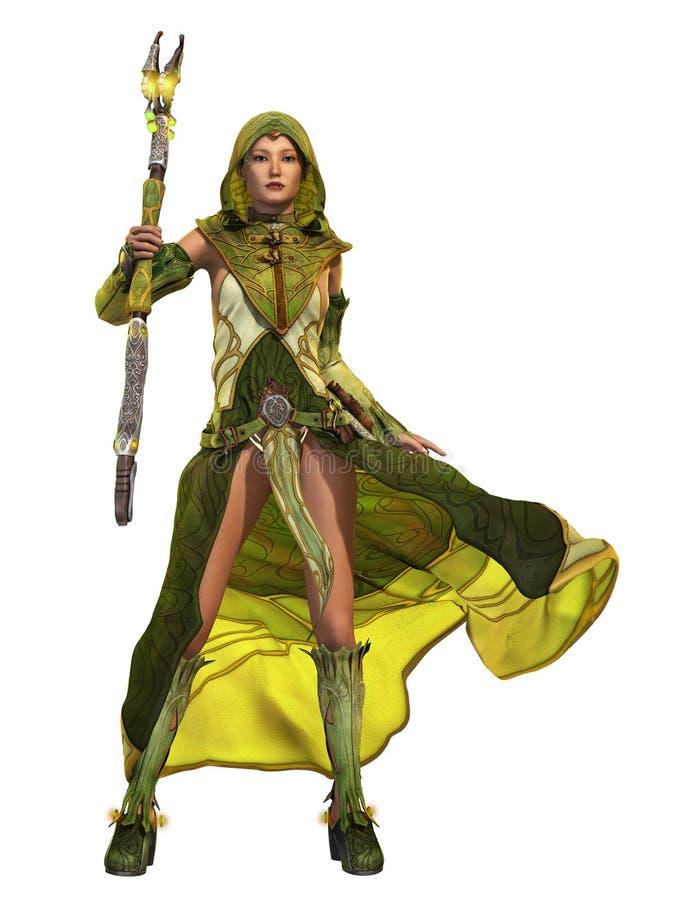 Зеленая знахарка CA, 3d CG иллюстрация штока