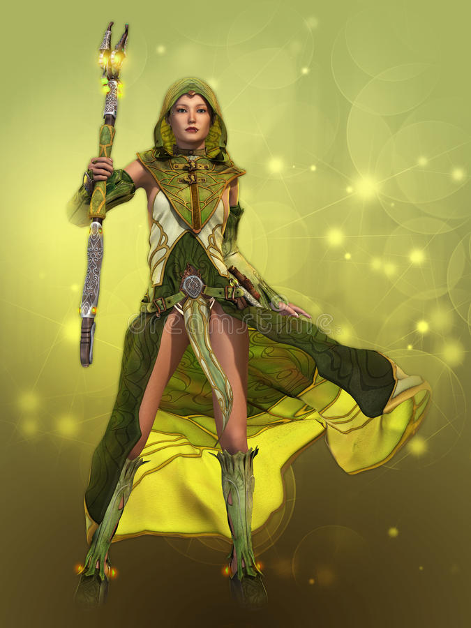 Зеленая знахарка, 3d CG иллюстрация штока