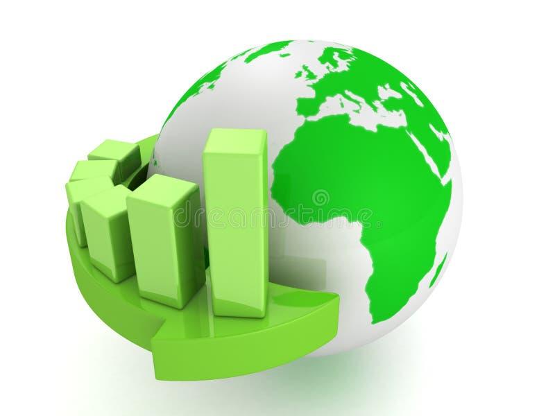 Зеленая диаграмма дела на стрелке вокруг глобуса земли иллюстрация штока