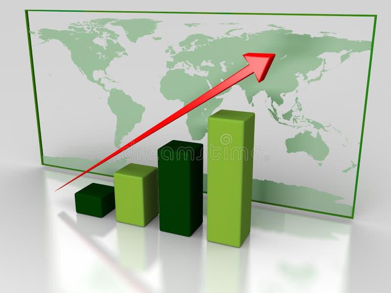 Зеленая диаграмма роста иллюстрация вектора