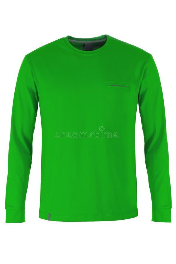 Зеленая длинная футболка рукава стоковое фото rf