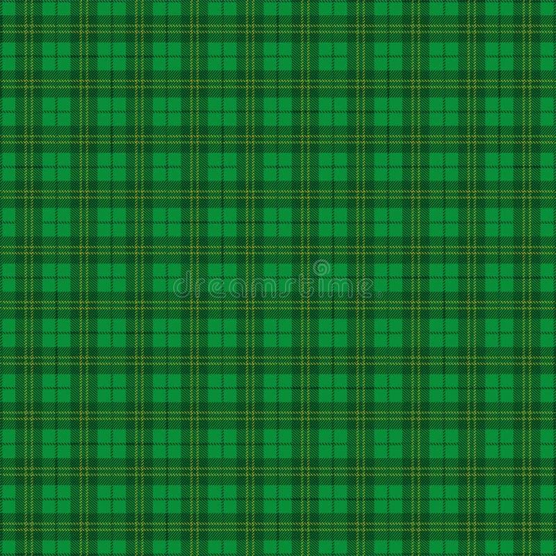 Зеленая ирландская картина тартана иллюстрация вектора