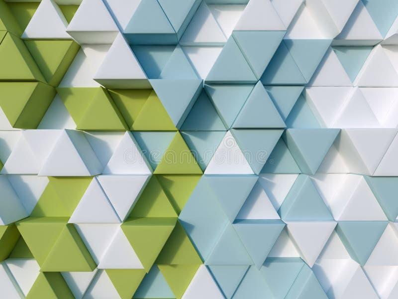 Зеленая и голубая предпосылка треугольника конспекта 3d иллюстрация вектора