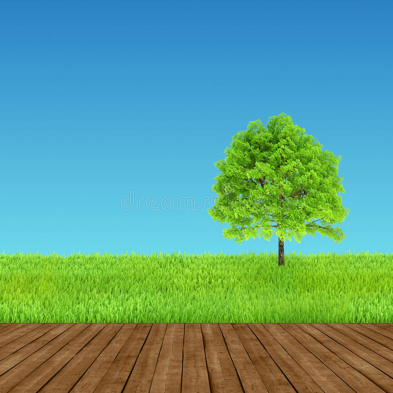 Зеленая и деревянная окружающая среда предпосылки иллюстрация вектора