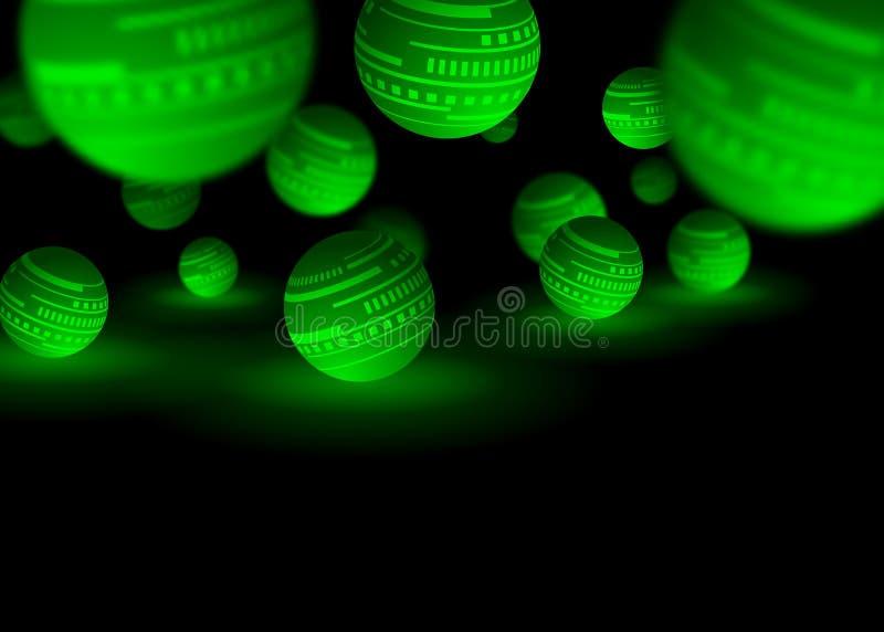 Зеленая и черная предпосылка конспекта технологии шариков иллюстрация штока