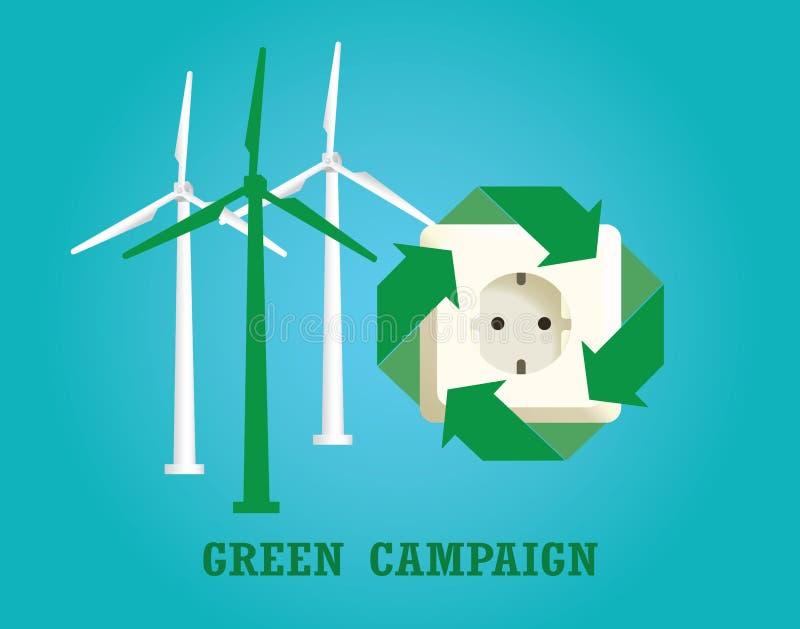 Зеленая кампания с штепсельной вилкой и ветротурбиной электричества иллюстрация вектора