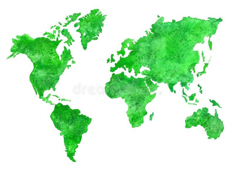 Зеленая карта акварели иллюстрация вектора