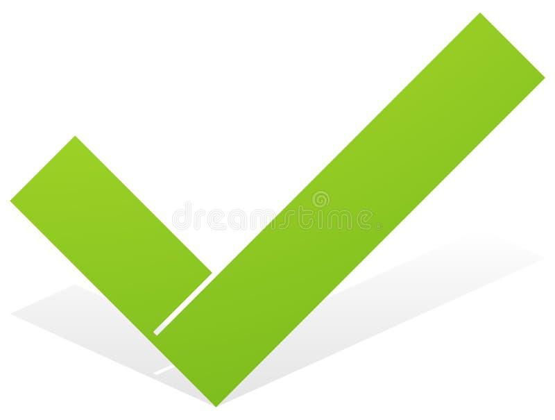 Зеленая контрольная пометка, значок тикания с snick и затеняет изолированный на wh иллюстрация штока