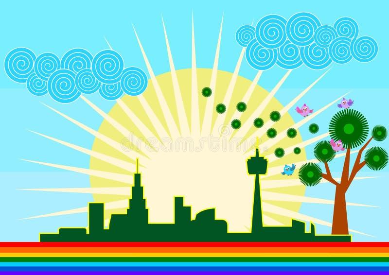 Зеленая концепция горизонта города Eco иллюстрация вектора