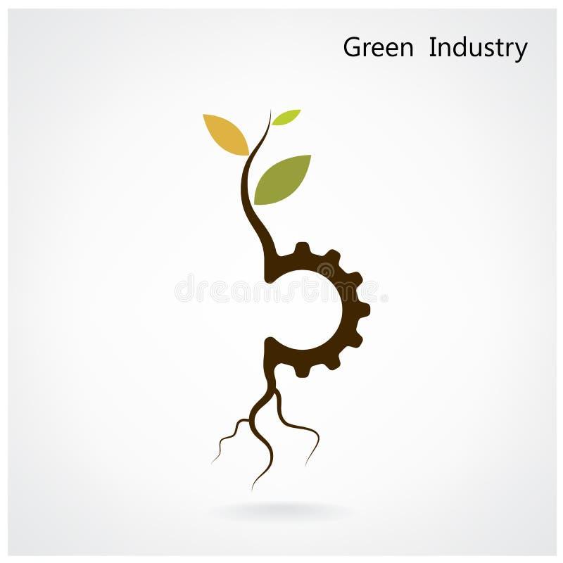 Зеленая концепция индустрии Малый символ завода и шестерни, дело иллюстрация вектора
