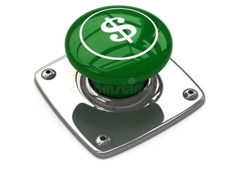 Зеленая концепция кнопки доллара иллюстрация вектора