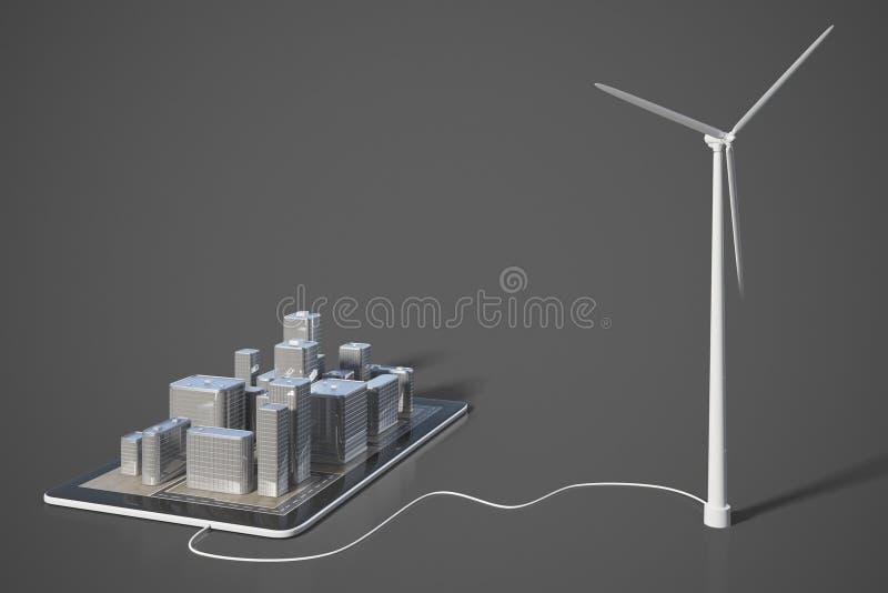 Зеленая концепция энергии с smartphone с зданиями 3D и windm стоковые изображения rf