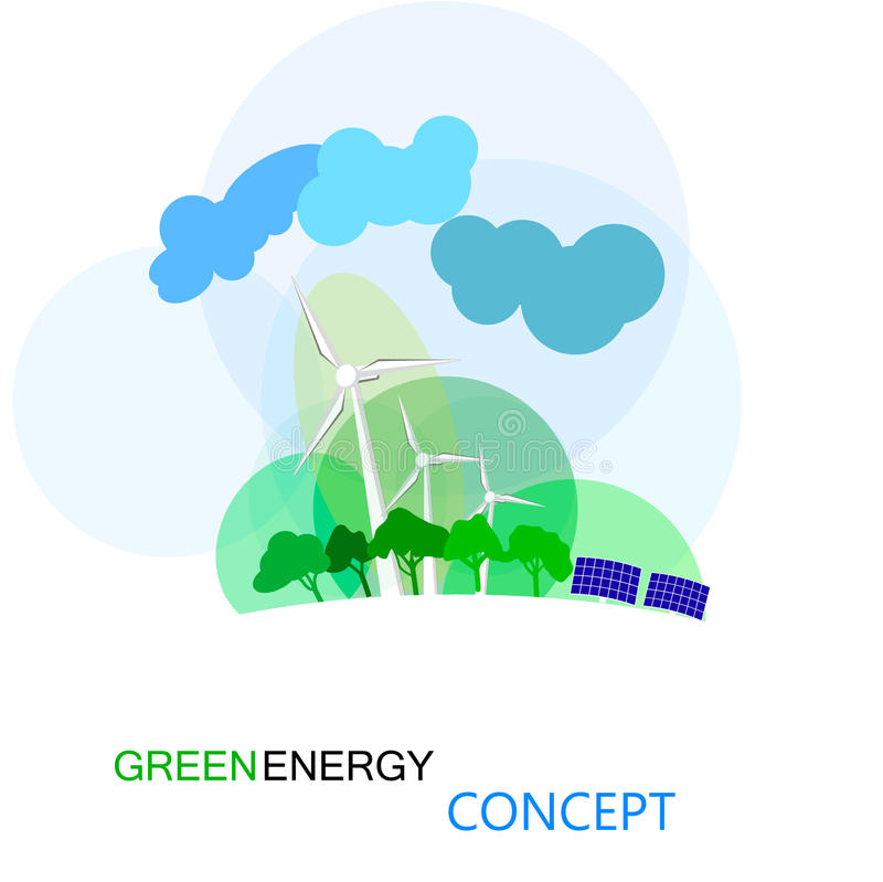 Зеленая концепция энергии, ecologycal будущее земли turnbines wind бесплатная иллюстрация