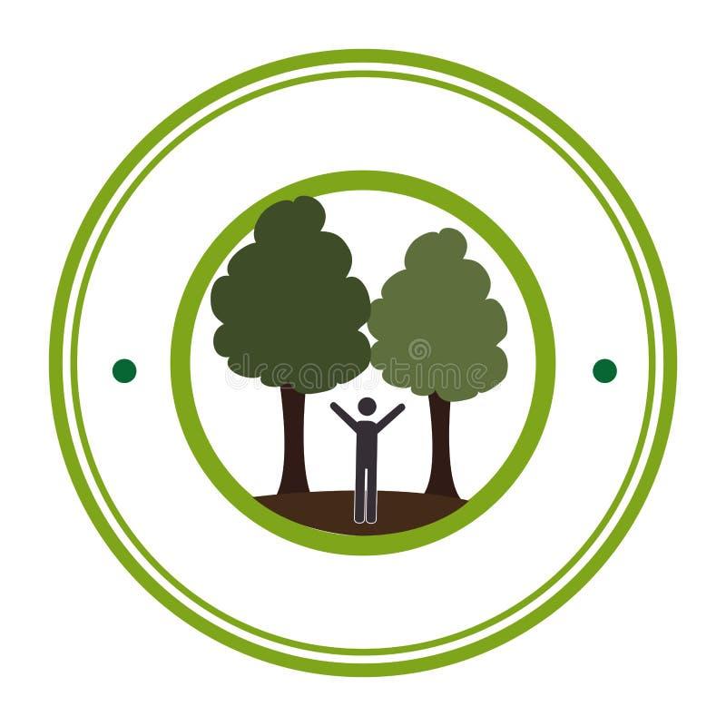 Зеленая круговая рамка с человеком в природе с деревьями иллюстрация штока