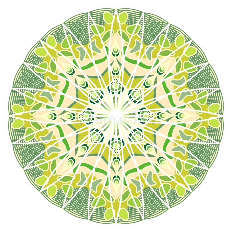 Зеленая мандала для энергии и силы получая, мандалы для тренировки раздумья бесплатная иллюстрация