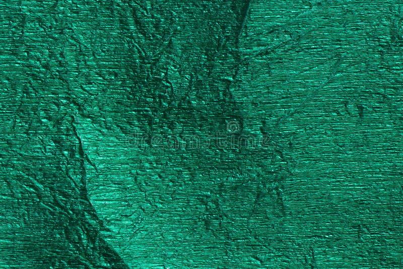 Зеленая металлическая текстура предпосылки фольги стоковые фотографии rf