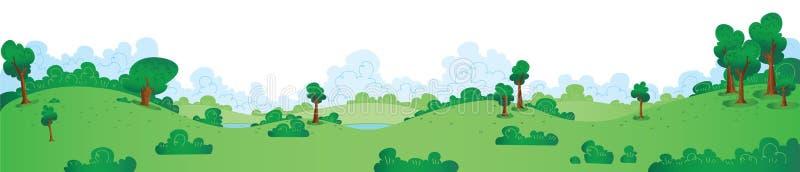 Зеленая панорама парка иллюстрация штока