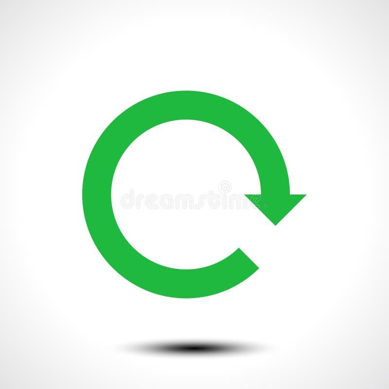 Зеленая перезарядка значка стрелки, освежает, вращение, возврат, знак повторения бесплатная иллюстрация
