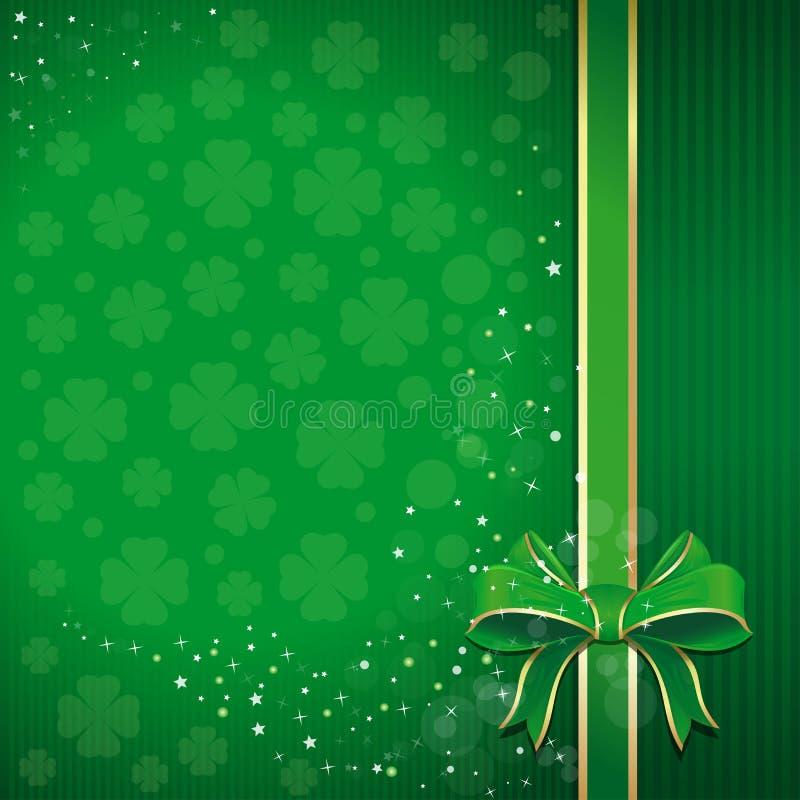 Зеленая праздничная предпосылка с лентой, смычком и листанным клевером на день St Patricks с открытым космосом для текста иллюстрация вектора