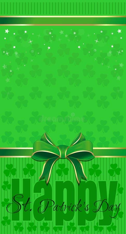 Зеленая праздничная предпосылка с листанными клевером, лентой и смычком st patricks дня счастливый бесплатная иллюстрация