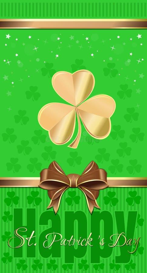 Зеленая праздничная предпосылка с клевером и лентой и смычком золота Рогулька шаблона на день St Patricks иллюстрация штока