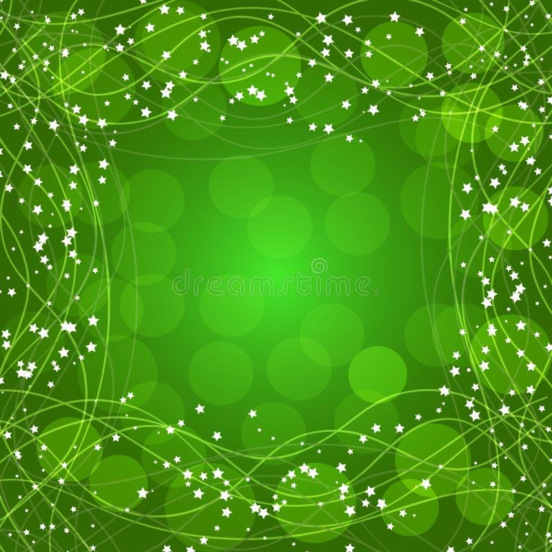 Зеленая предпосылка с границей, линиями и звездами иллюстрация бесплатная иллюстрация