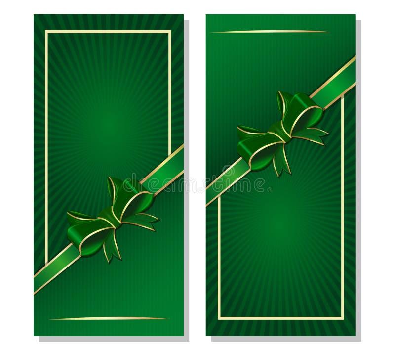 Зеленая предпосылка с лентой и смычок для дня St Patricks и праздничных событий иллюстрация вектора
