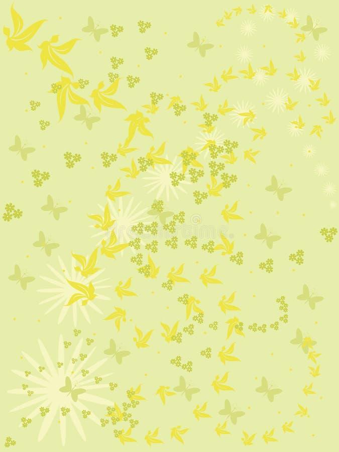 Зеленая предпосылка с цветками и бабочками. иллюстрация штока