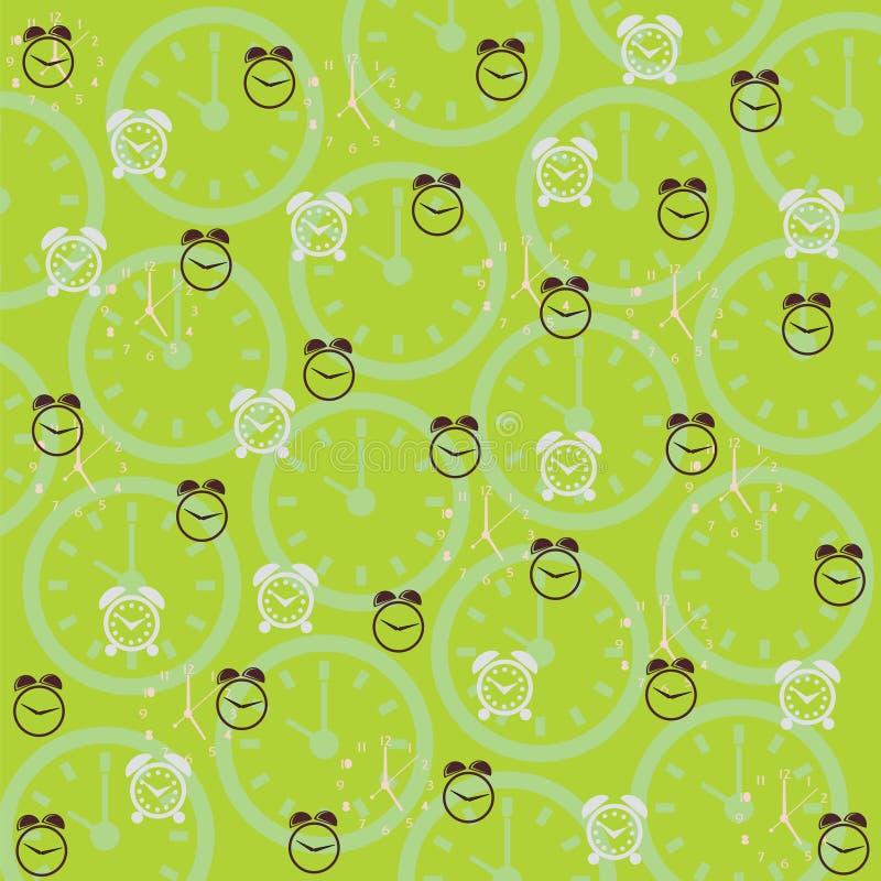 Зеленая предпосылка с часами иллюстрация штока