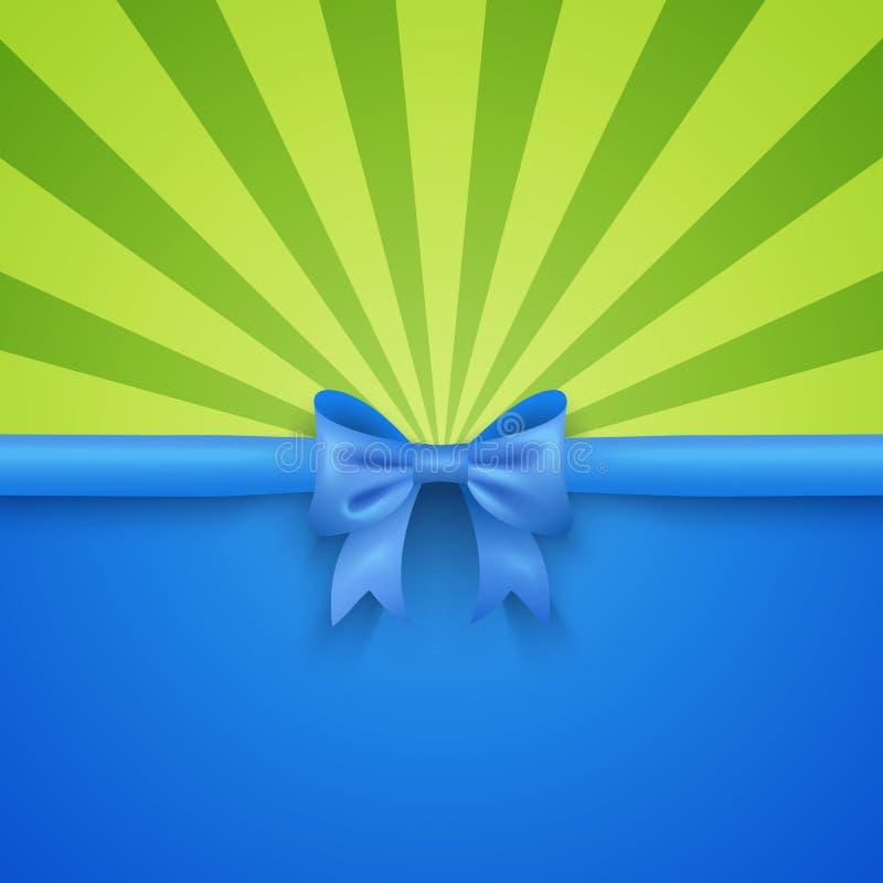 Зеленая предпосылка луча с голубым смычком подарка и бесплатная иллюстрация