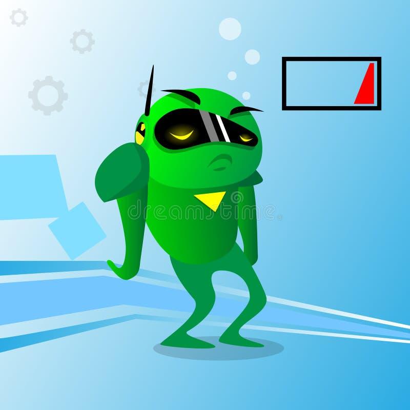 Зеленая проблема обязанности робота отсутствие энергии иллюстрация вектора