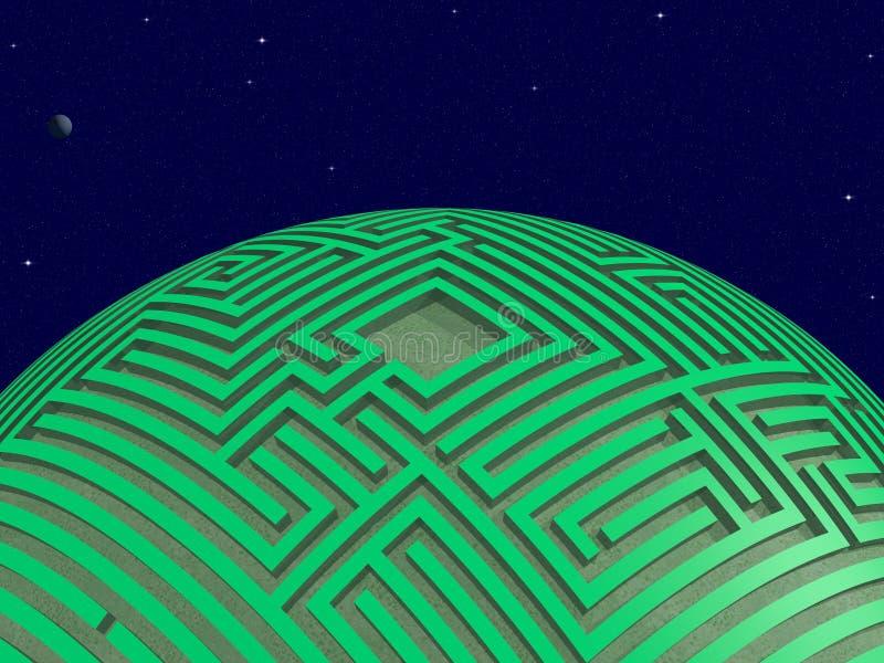 Зеленая планета лабиринта иллюстрация штока