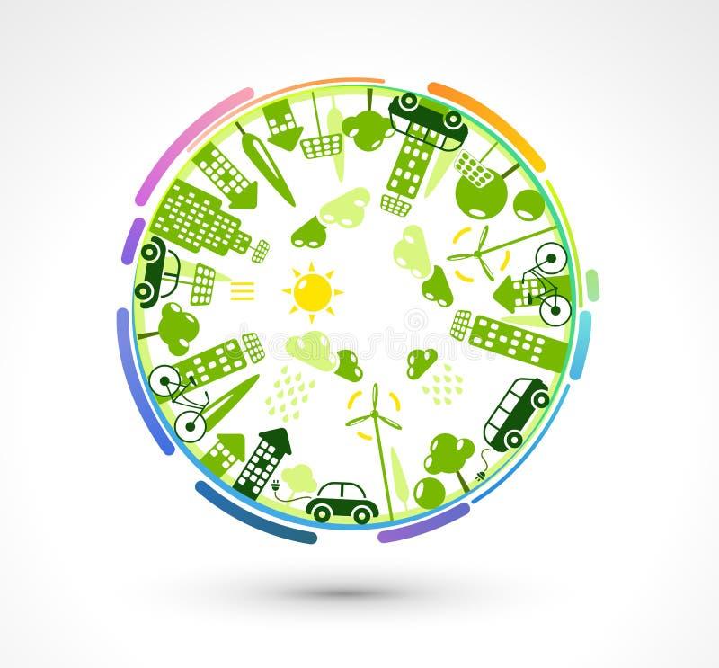 Зеленая планета eco иллюстрация вектора