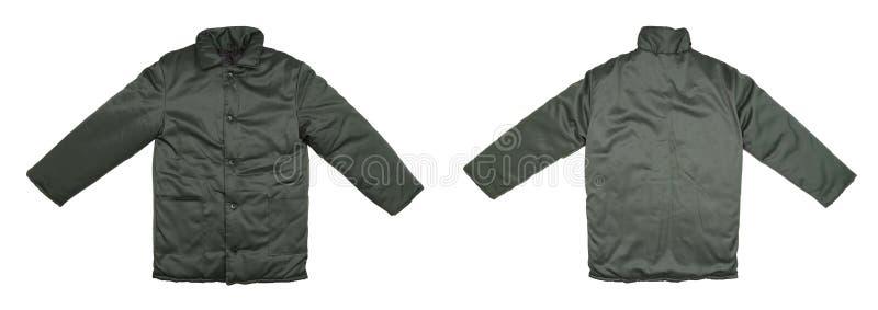 Зеленая работая задняя часть фронта куртки. стоковое фото